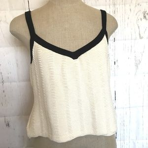 St. John Collection Size L Tank Crop Top Ivory Blk